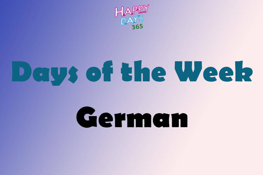 Days of the Week in German