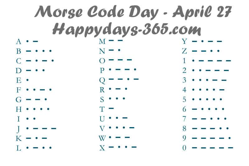 Morse Code Day – April 27, 2020