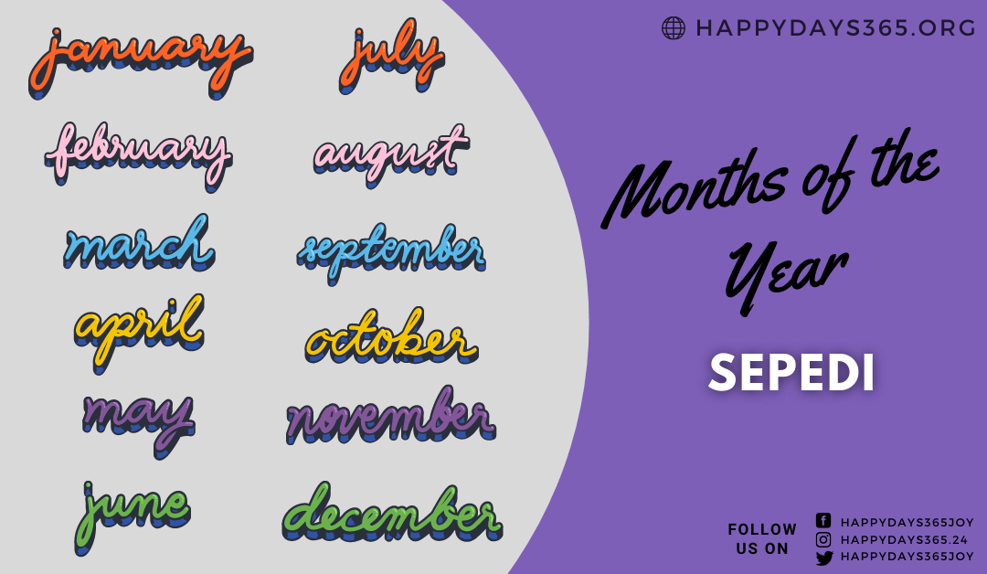 Months of the Year in Sepedi (Sesotho)