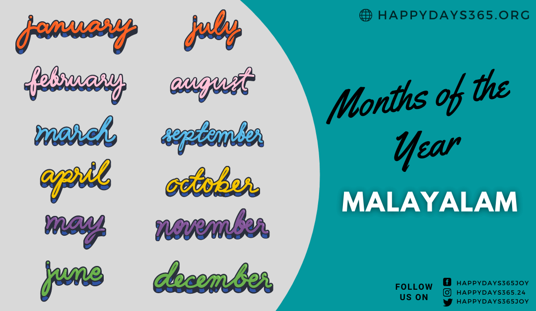 Months of the Year in Malayalam